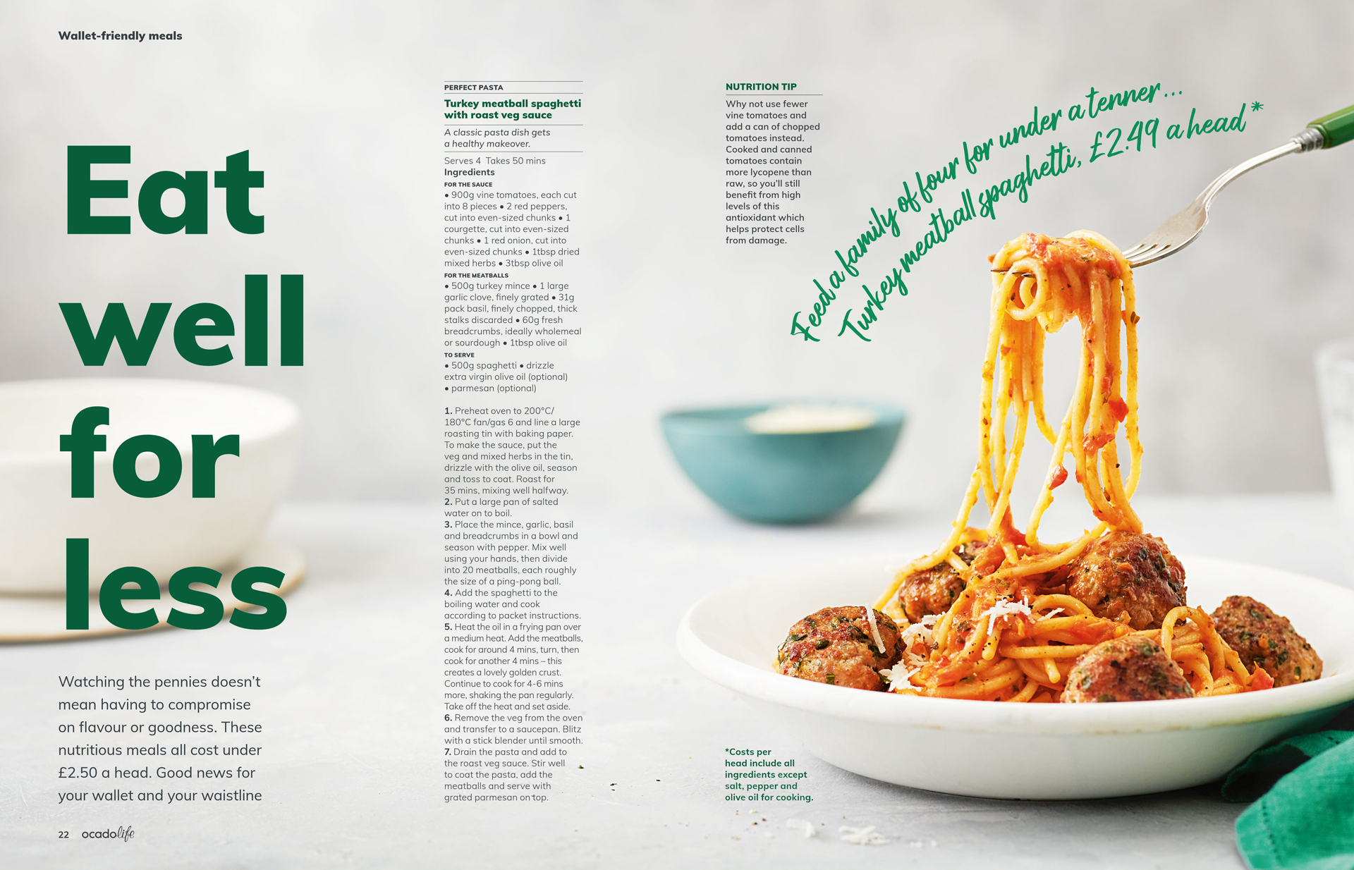 Eat well for less spread, Ocadolife magazine